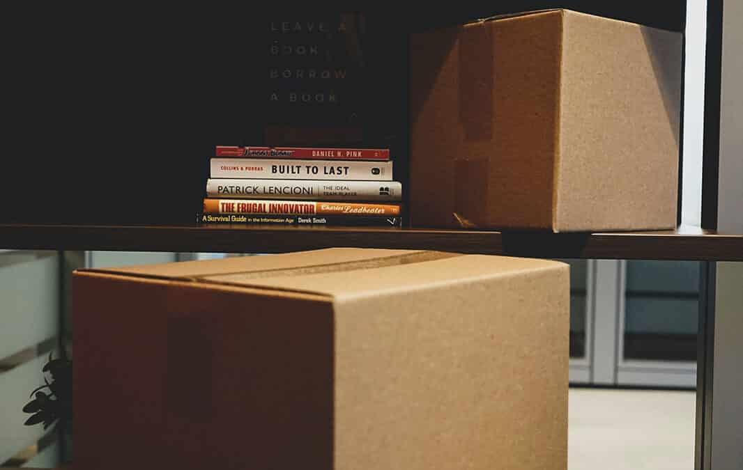 Boxes and a bookshelf