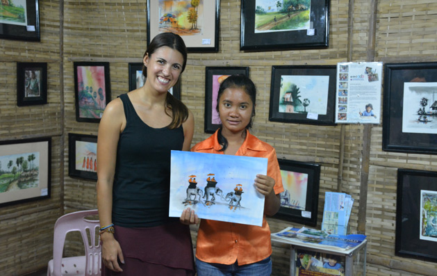 Alissa with the young artist of one of the paintings we bought