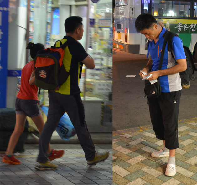 LEFT: Matching shoes is a MUST in Korean hiking fashion. RIGHT: Sporty capris with Crocs & socks are in!
