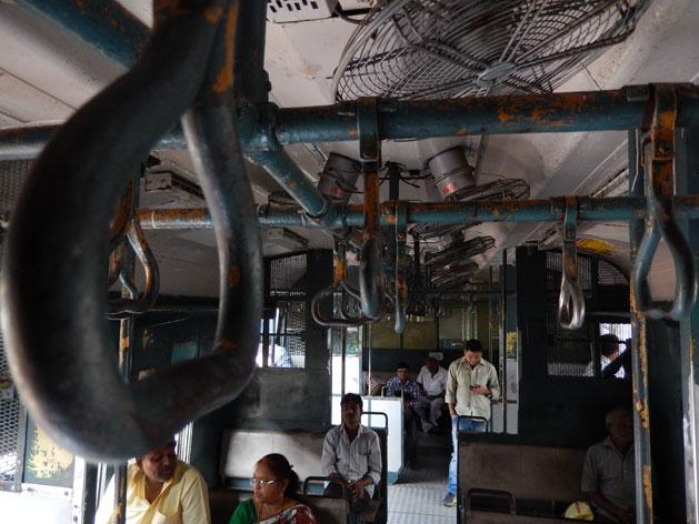 First class train on Mumbai's local train system.