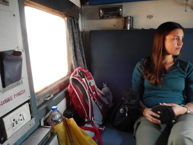 Alissa on the sleeper train from Mumbai to Goa