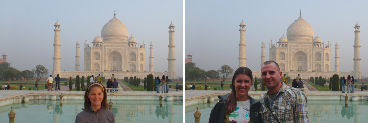 I can always photoshop us at the Taj Mahal later in life, right?