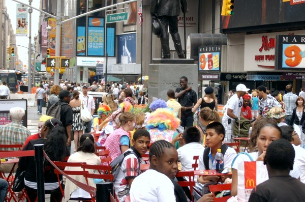 From Lisa: Clowns eating lunch in Times Square