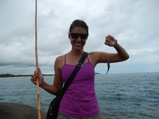 Alissa fishing in Lake Malawi.  Not the biggest fish ever caught!