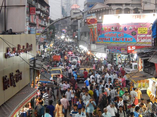 Crowded street in Mumbai, India