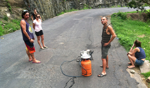 Dan making popcorn on the side of the road in Malawi.