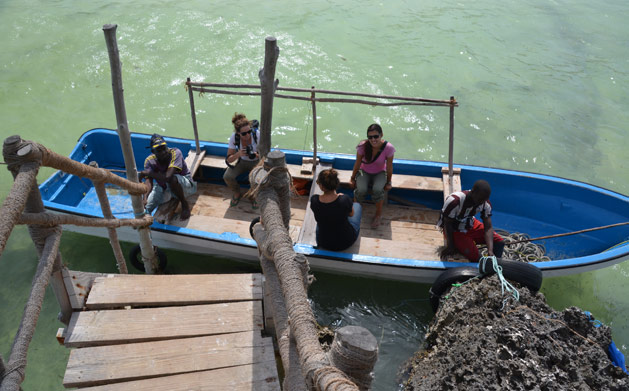 Boarding the boat back to shore.