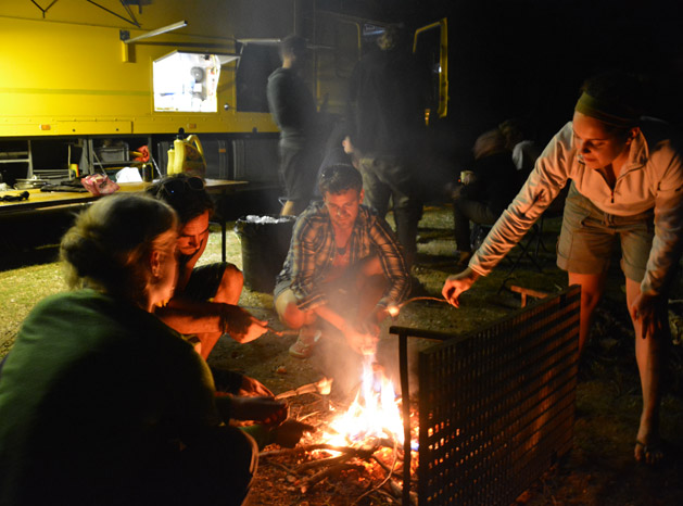 Roasting marshmallows over the camp fire in Malawi.