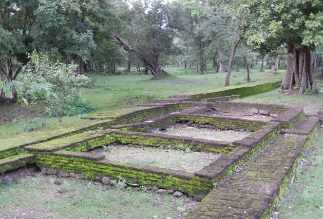 The ruins of ancient trade stalls.