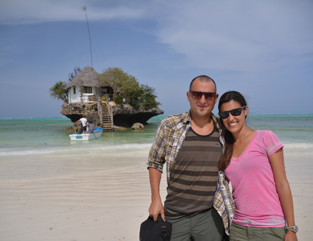Us at The Rock restaurant in Zanzibar