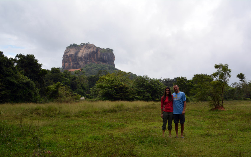 Us before the climb with the Sigiriya Rock looming in the background.