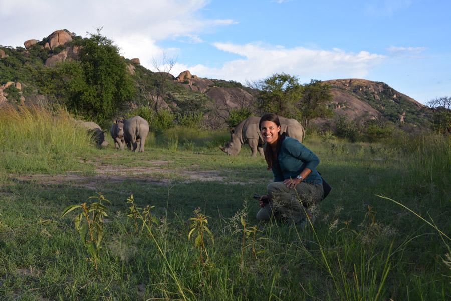Seeing the rhinos close-up!