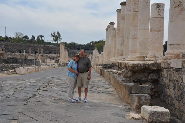 Dan's parents on the main street of Beit