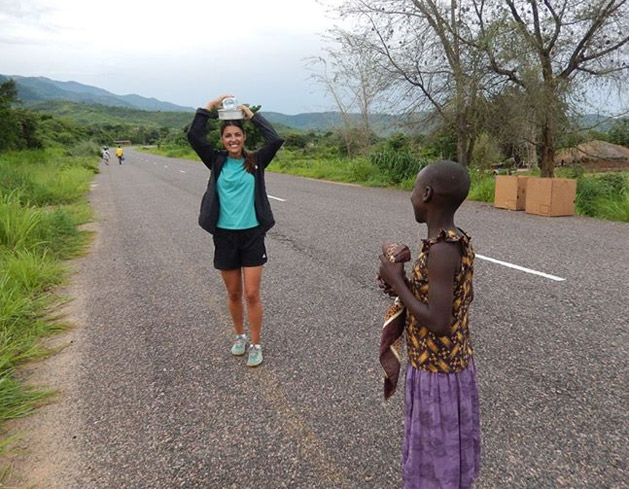 A local girl in Malawi teaching Alissa how to balance.
