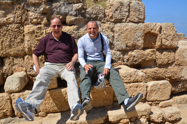 Dan and his dad using the ancient toilets.