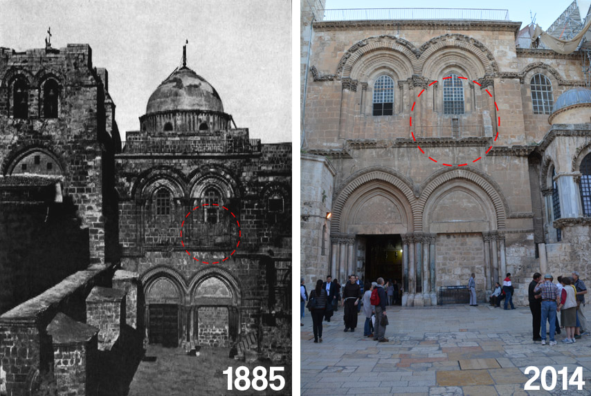 The courtyard of the Church of Holy Sepulchre with the Immovable Ladder circled.