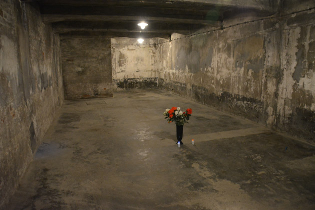 Inside the reconstructed gas chamber at Auschwitz I.