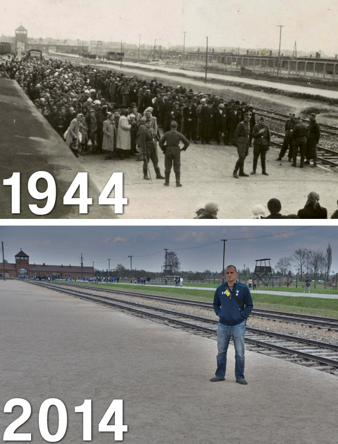 Then and now: The selection area at Birkenau.