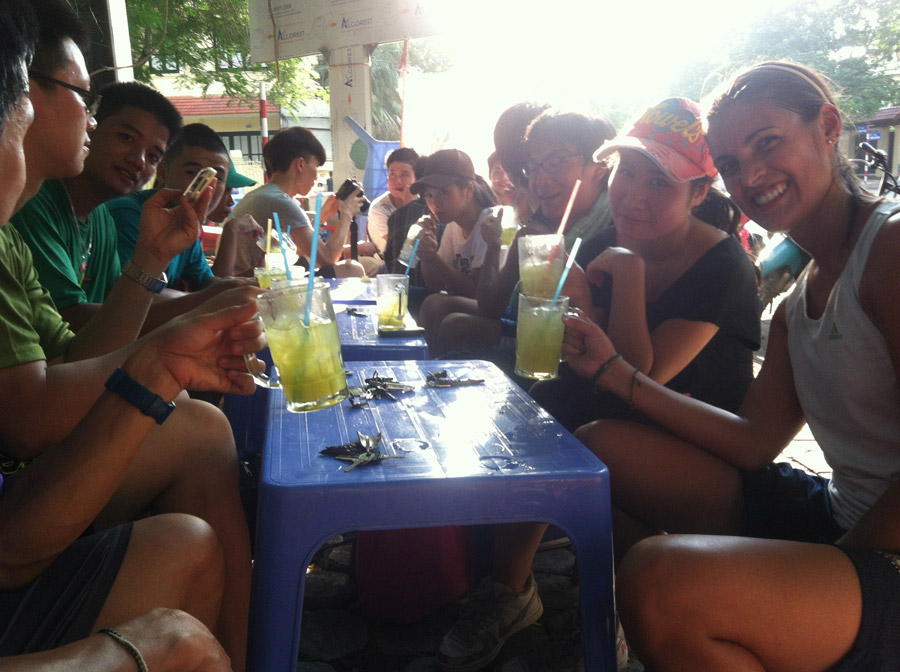 Enjoy some cane juice in Hanoi after a pickup frisbee game with some new friends