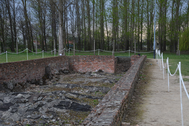 The steps leading into the gas chamber at Birkenau.