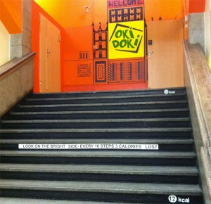 """This hostel's steps read """"Look on the bright side- every 10 steps 3 calories lost"""""""