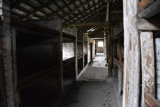 Inside a women's barracks at Birkenau.