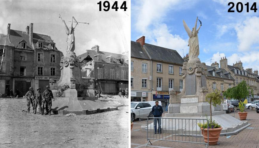 carentan-statue-then-now