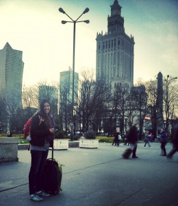 Alissa smiling in Warsaw even though we had no idea where our hotel was yet.  We ended up loving this city!