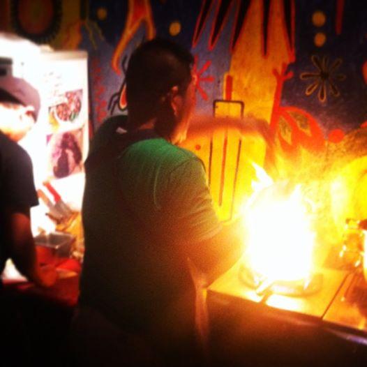 Street tacos getting prepared at El Chupacabra.