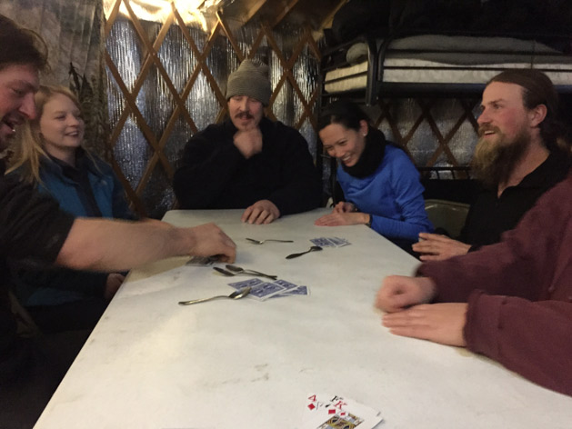 A friendly game of spoons in the Yurt.
