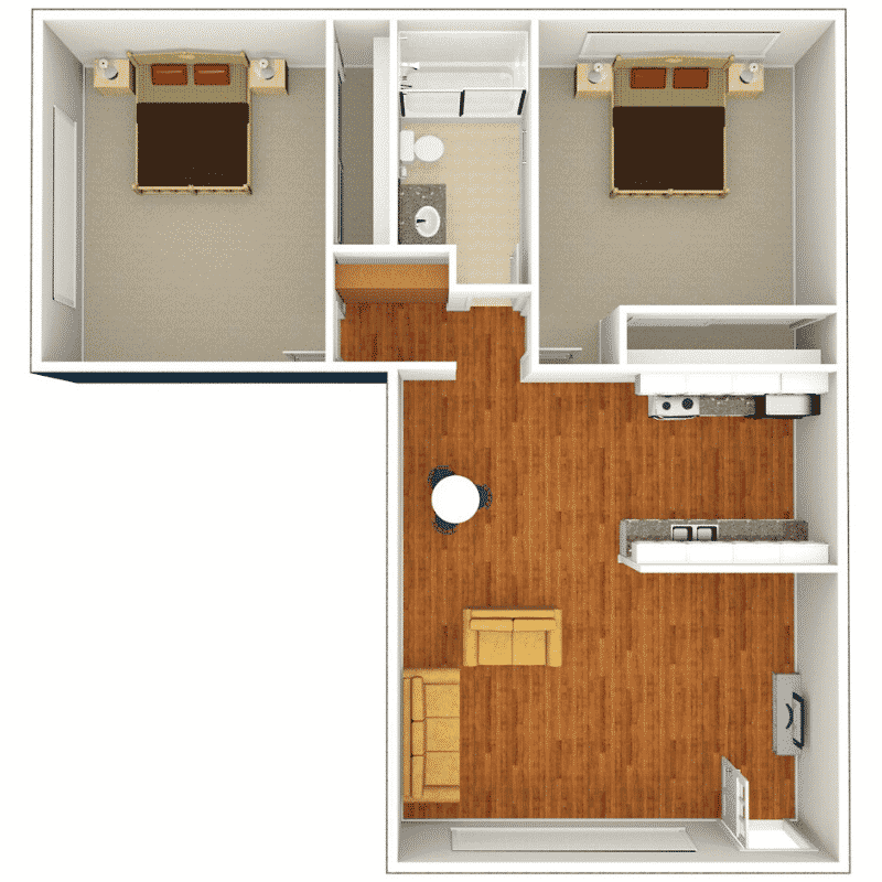 2 BED 1 BATH 800 Sq. Ft. floor plan
