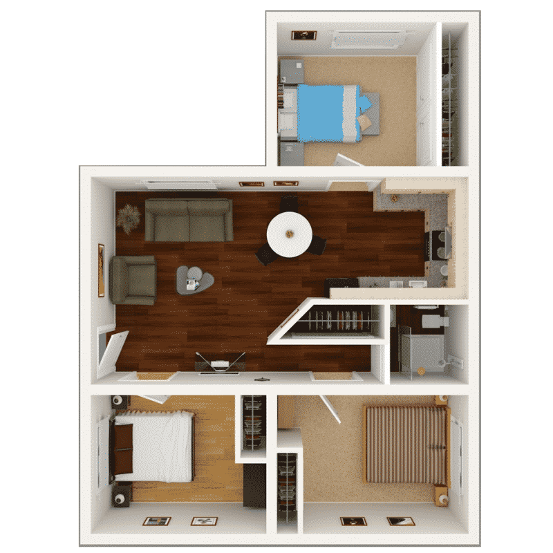 3 BED 2 BATH 1,100 Sq. Ft. floor plan