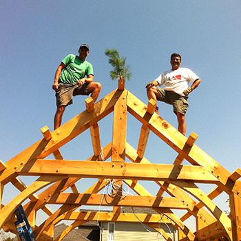 Thane on top of timberframe cabana
