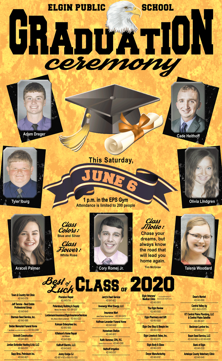 EPS Elgin Public School graduation Elgin Nebraska Antelope County Nebraska news Elgin Review Adam Dreger Cade Heithoff Tyler Iburg Olivia Lindgren Araceli Palmer Cory Romej Jr Talena Woodard seniors 2