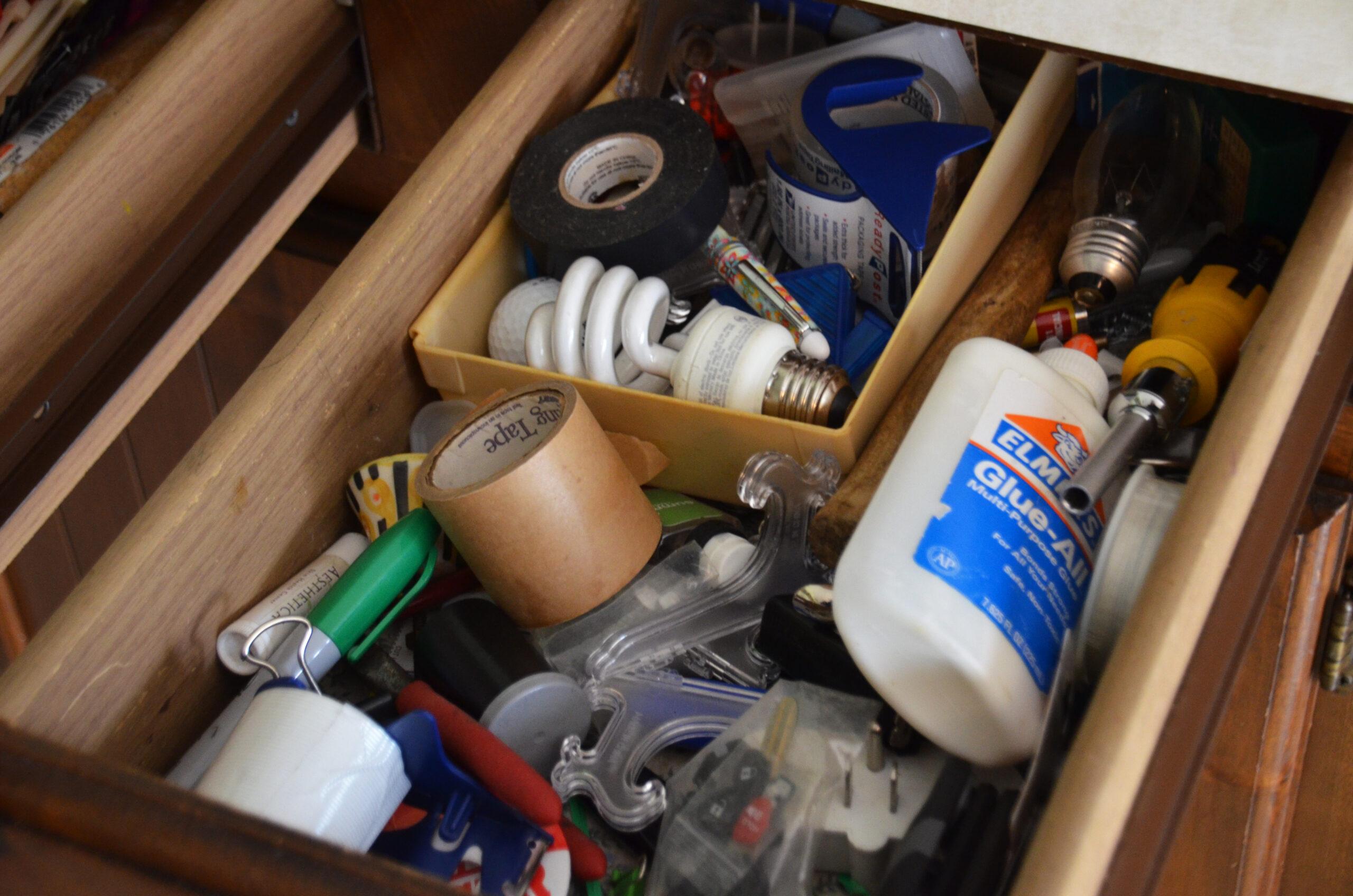 Inside a junk drawer