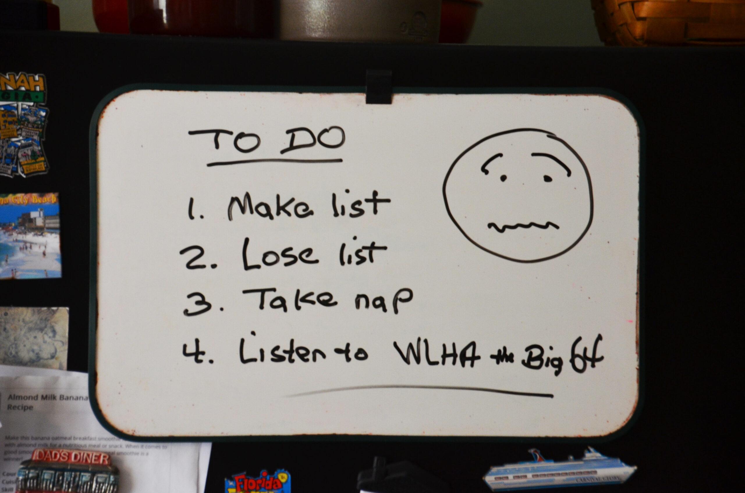 List on a white board