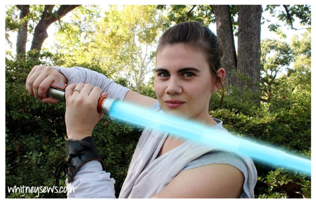 Rey costume with light saber from Whitney Sews