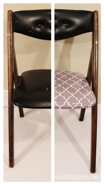 Padded chair makeover before and after.  Full how to from Whitney Sews.
