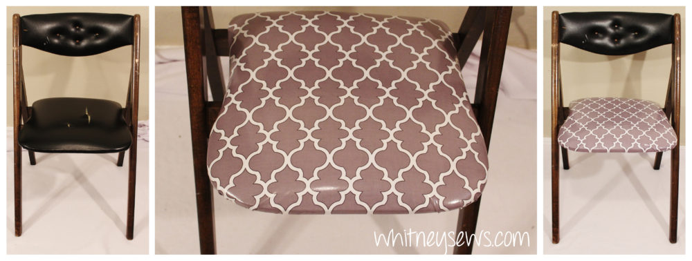 Chair redo before and after by Whitney Sews