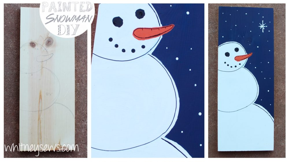 DIY Snowman Painting how to from Whitney Sews. Perfect edition to your Christmas decor!