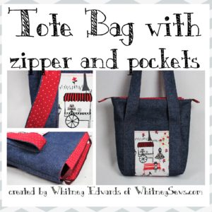 Tote bag with zipper and pockets
