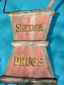 Vintage Old Original Smetna Drugs Trade Sign, Mortar & Pestal