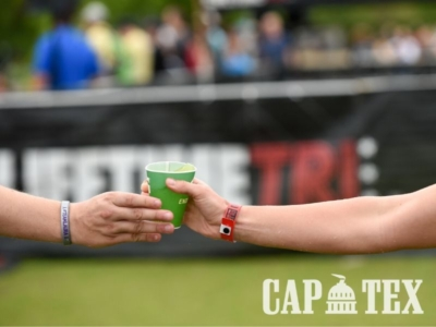 Hydrating on the CapTex Tri course!