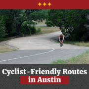 Solo cyclist rides on the Veloway in Austin, Texas. Text on design reads Cyclist-Friendly Routes in Austin. Learn more at https://captextri.com/cyclist-friendly-routes-in-austin/