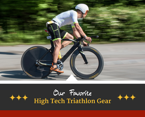 Image of cyclist riding fast on his bike. Text on design reads Our Favorite High-Tech Triathlon Gear. Read the list at https://captextri.com/high-tech-triathlon-gear/