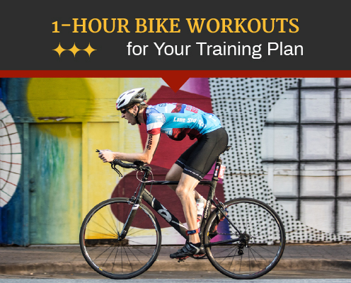 Cyclist rides in front of a mural in downtown Austin during CapTex Triathlon. Text on design reads 1-Hour Bike Workouts for Your Training Plan. Read more at https://captextri.com/1-hour-bike-workouts/