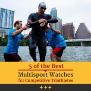 Triathlete exits Town Lake in Austin, Texas, after the CapTex Tri swim. Text on design reads 5 of the Best Multisport Watches for Competitive Triathletes. Read more at https://captextri.com/5-best-multisport-watches/