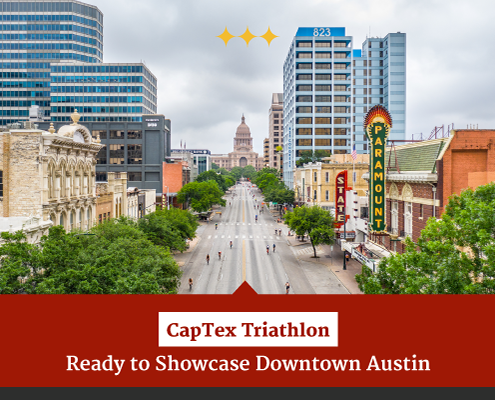 Drone image of the CapTex Tri course on Congress Avenue with the Texas State Capitol in the background. Text on design reads 2021 CapTex Triathlon Ready to Showcase Downtown Austin. Read more at https://captextri.com/2021-captex-triathlon/