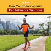 A triathlete flashes the peace sign during the run portion of the CapTex Triathlon. Text on design reads How Your Bike Cadence Can Influence Your Run. Read more at https://captextri.com/bike-cadence-can-influence-your-run/