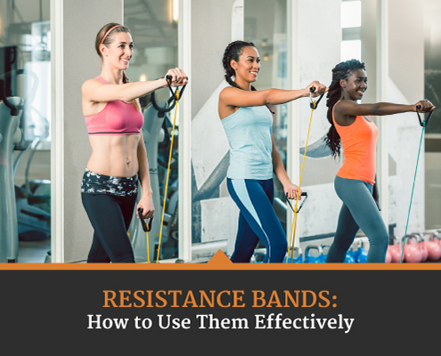 Three woman work out their upper body in a gym using resistance bands. Text on design reads Resistance Bands: How to Use Them Effectively. Learn more at https://captextri.com/resistance-bands/